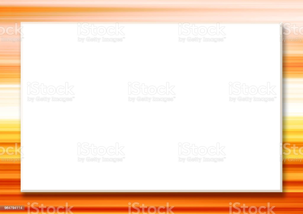 Mock up template with big white rectangular text box. Striped border, abstract orange, yellow background. Horizontal frame for scrapbook, photo albums, greeting cards, postcards, posters, flyers, web pages, presentations, invitations royalty-free mock up template with big white rectangular text box striped border abstract orange yellow background horizontal frame for scrapbook photo albums greeting cards postcards posters flyers web pages presentations invitations stock vector art & more images of abstract