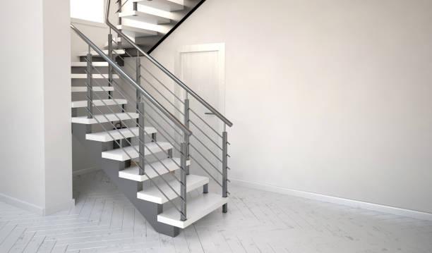 illustrations, cliparts, dessins animés et icônes de maquette murale en intérieur avec des escaliers. style de salon de hipster. illustration 3d - architecture intérieure beton