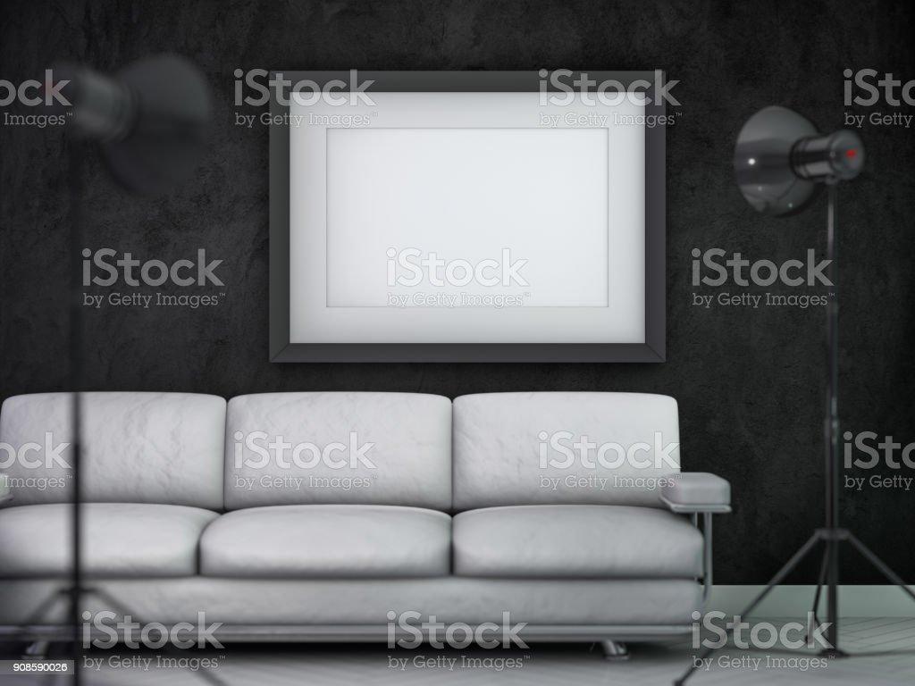 Cartel De La Maqueta Interiorismo Oscuro Vac O 3d Arte Vectorial  # Muebles Pizarra