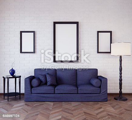 istock Mockup Poster in the interior 3D illustration of a modern design 646997124