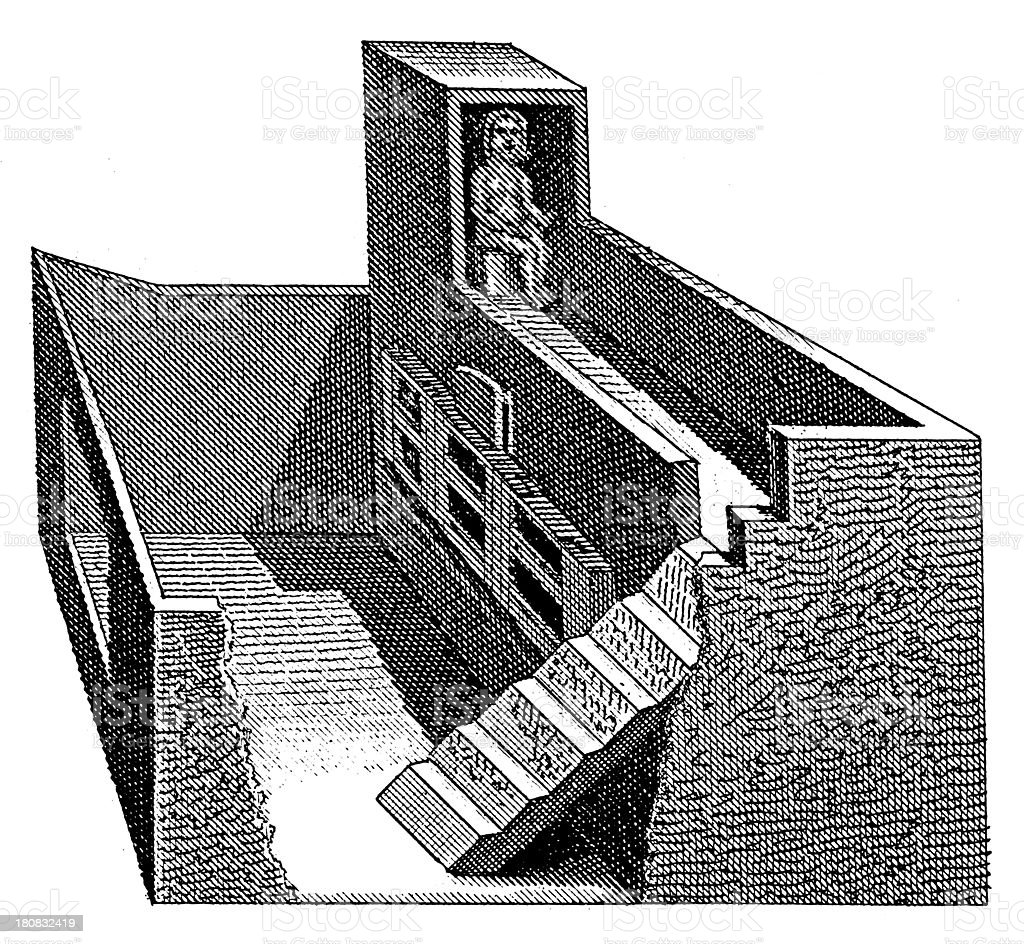 Model of ancient Egyptian house (antique wood engraving) royalty-free stock vector art