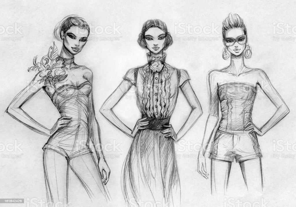 Modelos (preto e branco - ilustração de arte vetorial