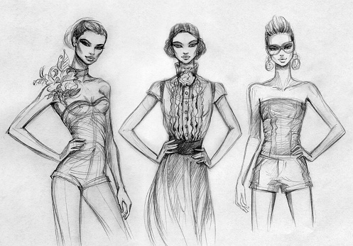 Fashion design sketch stock illustrations