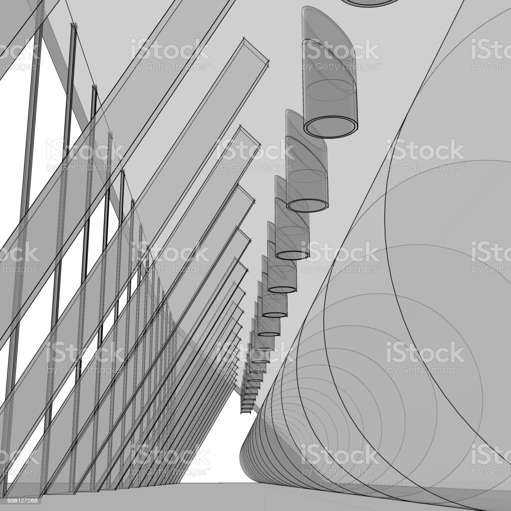 modern architectural sketches. Modern Architecture. Architectural Drawing Of Abstract Interior. Royalty-free Architecture Sketches