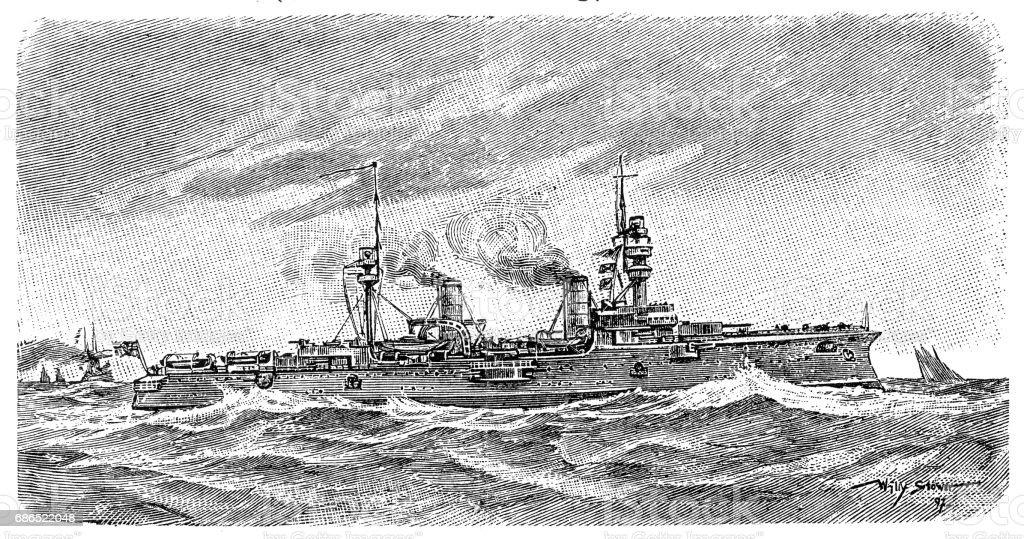 Modern armored cruiser royalty free modern armored cruiser stockvectorkunst en meer beelden van antiek - toestand