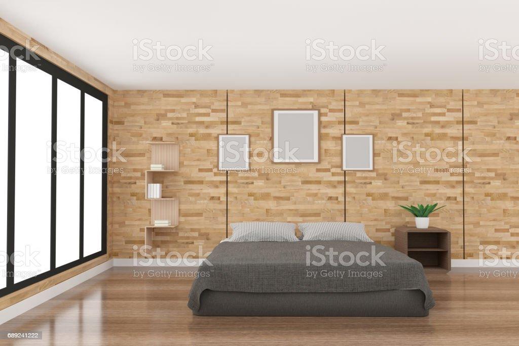 Hervorragend Moderne Schlafzimmer Dekoration Im Parkett Holzdesign Mit Licht Von  Schwarzes Fenster In 3D Rendering Lizenzfreies