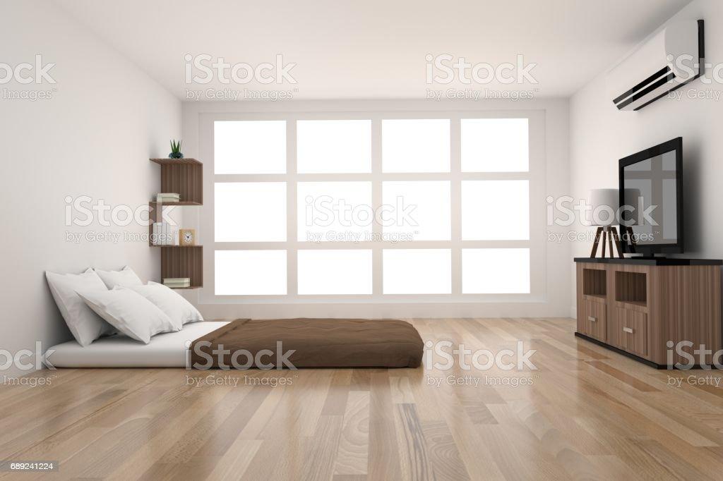 Moderne slaapkamer decoratie in parket hout design met licht