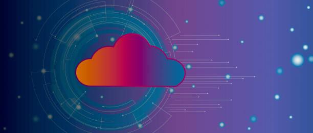 現代雲技術背景橫幅向量藝術插圖