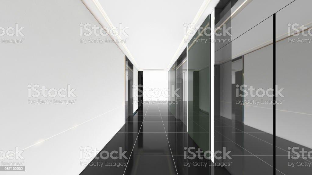 Chambre Couloir Moderne Design Dintérieur 3d Render Maquette ...
