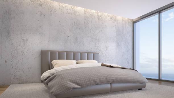 illustrations, cliparts, dessins animés et icônes de chambre design moderne avec des murs en béton, rendu 3d - architecture intérieure beton