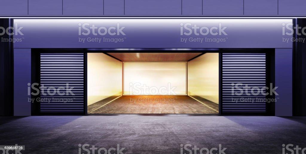 modern empty garage at night vector art illustration