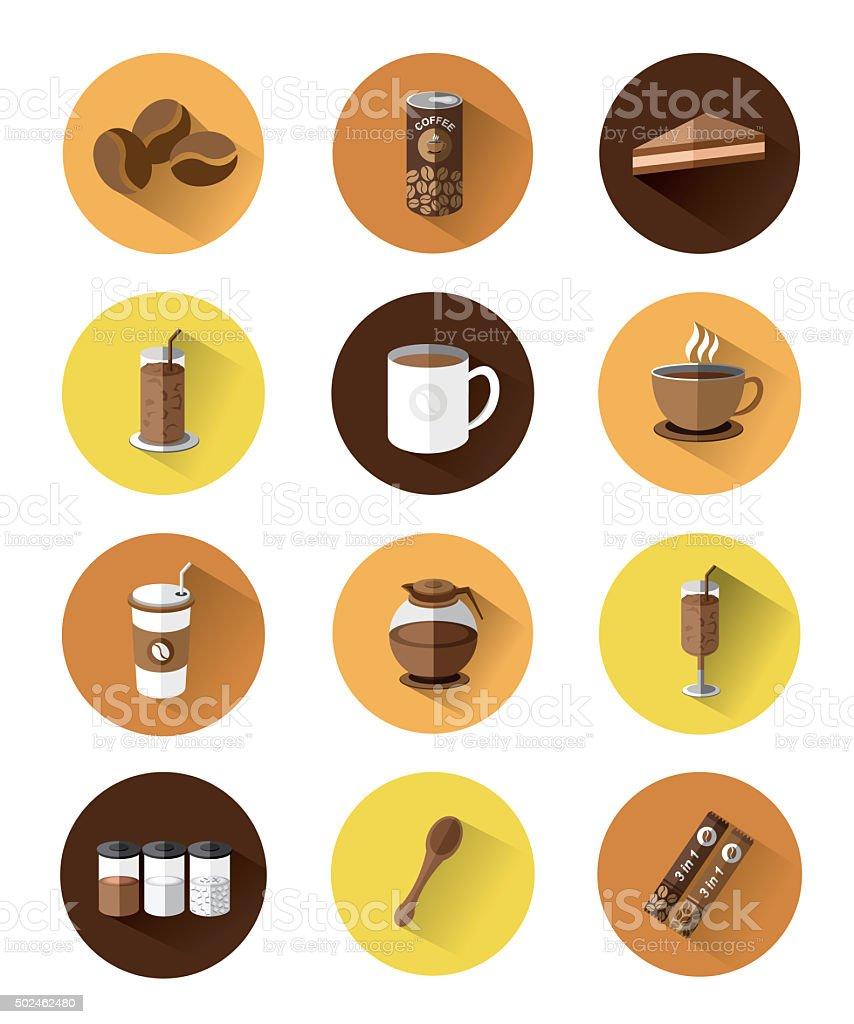 Modern flat icons set of Coffee vector art illustration
