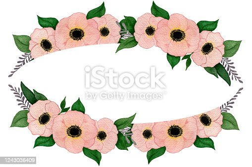 Illustration with modern floral frame with pink anemone flower bouquet, watercolor botanic illustration design for wedding, mothers day or card