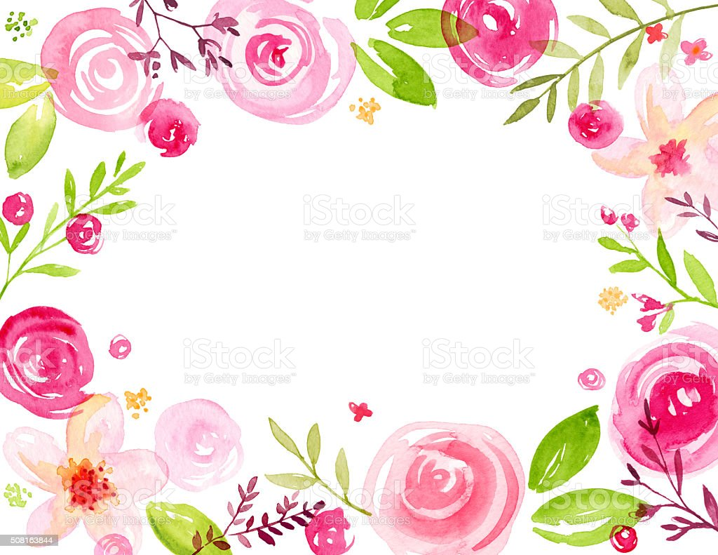 Modern Hand Painted Watercolor Flower Frame Stock Illustration