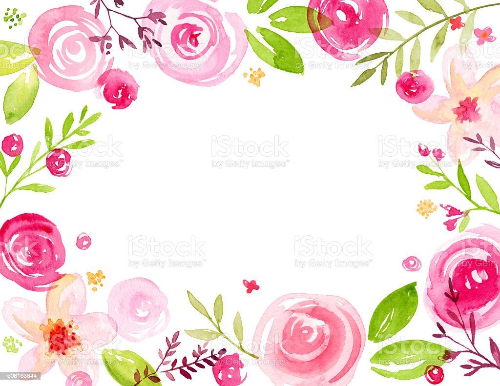 Modern, Hand Painted Watercolor Flower Frame vector art illustration