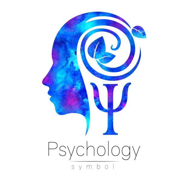 Modern head Logo sign of Psychology. Profile Human. Green Leaves. Letter Psi . Symbol in . Design concept. Brand company. Blue color isolated on white background. Icon for web, logotype. vector art illustration