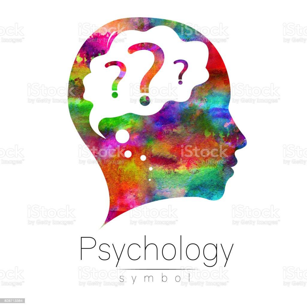 9662b5ca44e70 Cabeça moderna com pergunta dentro do cérebro. sinal de psicologia. Perfil  humano. Estilo