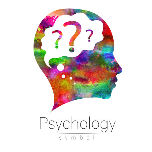 Modern head with question inside brain . sign of Psychology. Profile Human. Creative style. Symbol in . Design concept. Watercolor rainbow color isolated on white background. Icon for web vector art illustration