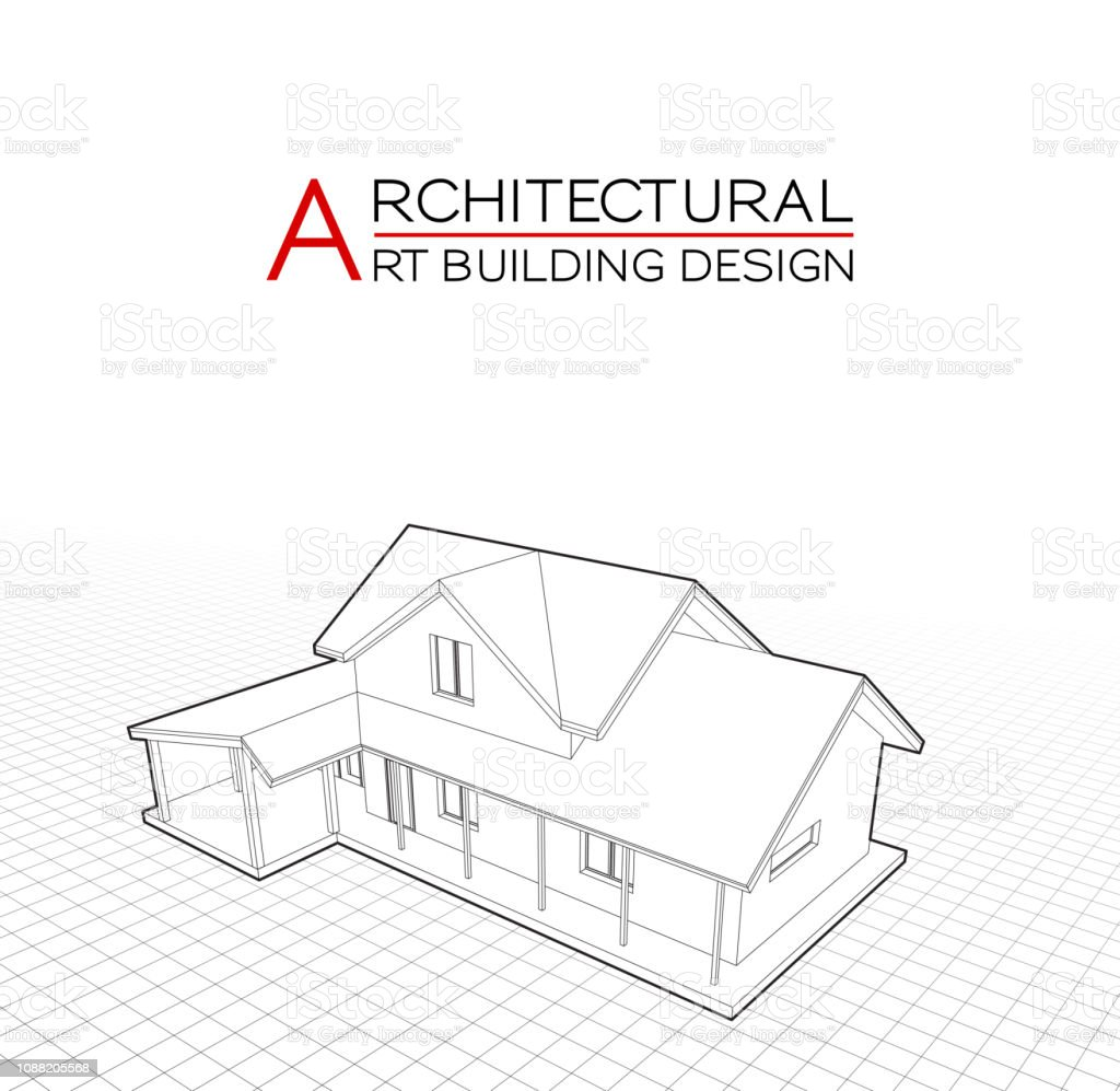 Modern House Building Vector Architectural Drawings 3d