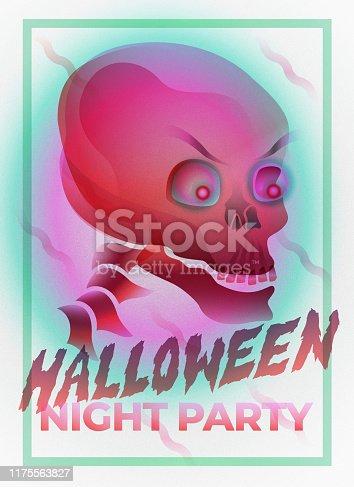 istock Modern illustration of Halloween night party - Skull head 1175563827