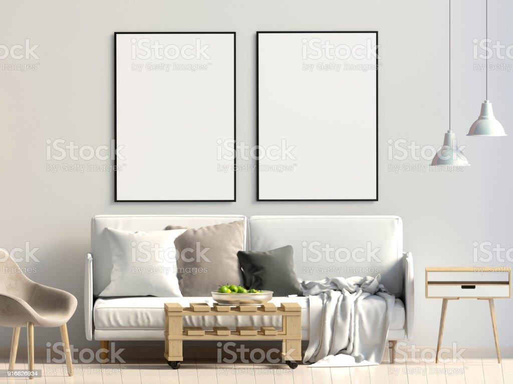 Modernes interieur mit sofa mockupposter d illustration stock