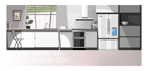 Modern kitchen room with appliances illustration