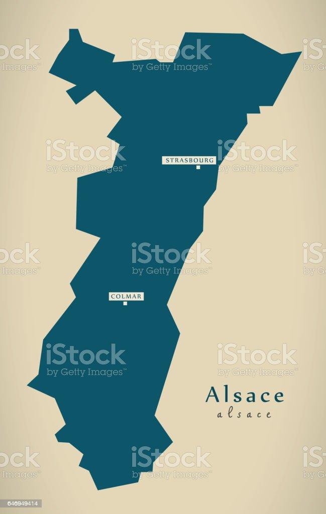Carte moderne - illustration Alsace France FR - Illustration vectorielle
