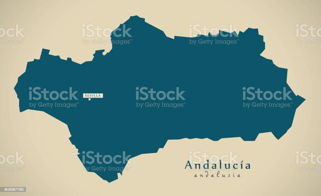 Andalusien Karte Spanien.Moderne Karte Andalusien Spanien Es Abbildung Stock Vektor Art Und