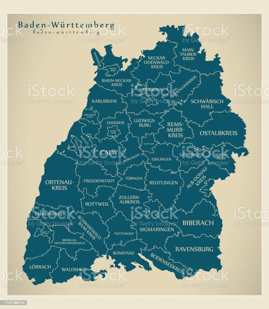 Modern Map Of Germany.Modern Map Baden Wuerttemberg Map Of Germany With Counties And Labels Stock Illustration Download Image Now