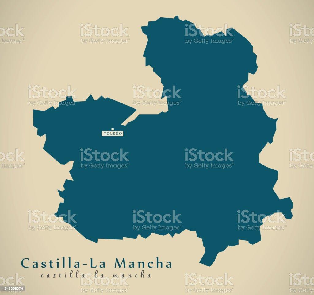 Map Of Spain La Mancha.Modern Map Castilla La Mancha Spain Es Illustration Stock Vector Art