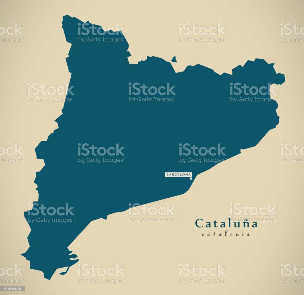 Spanien Katalonien Karte.Moderne Karte Katalonien Spanien Es Abbildung Stock Vektor Art Und