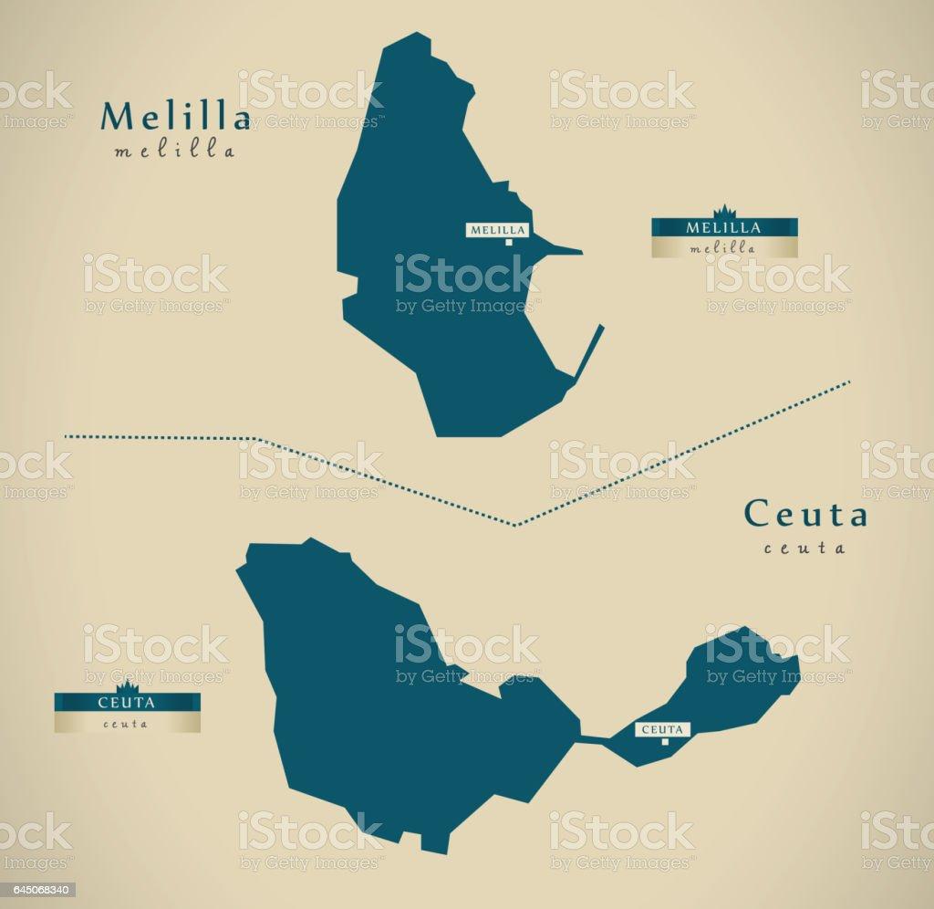 Ceuta Y Melilla Mapa.Ilustracion De Mapa Moderno Melilla Y Ceuta Espana Es