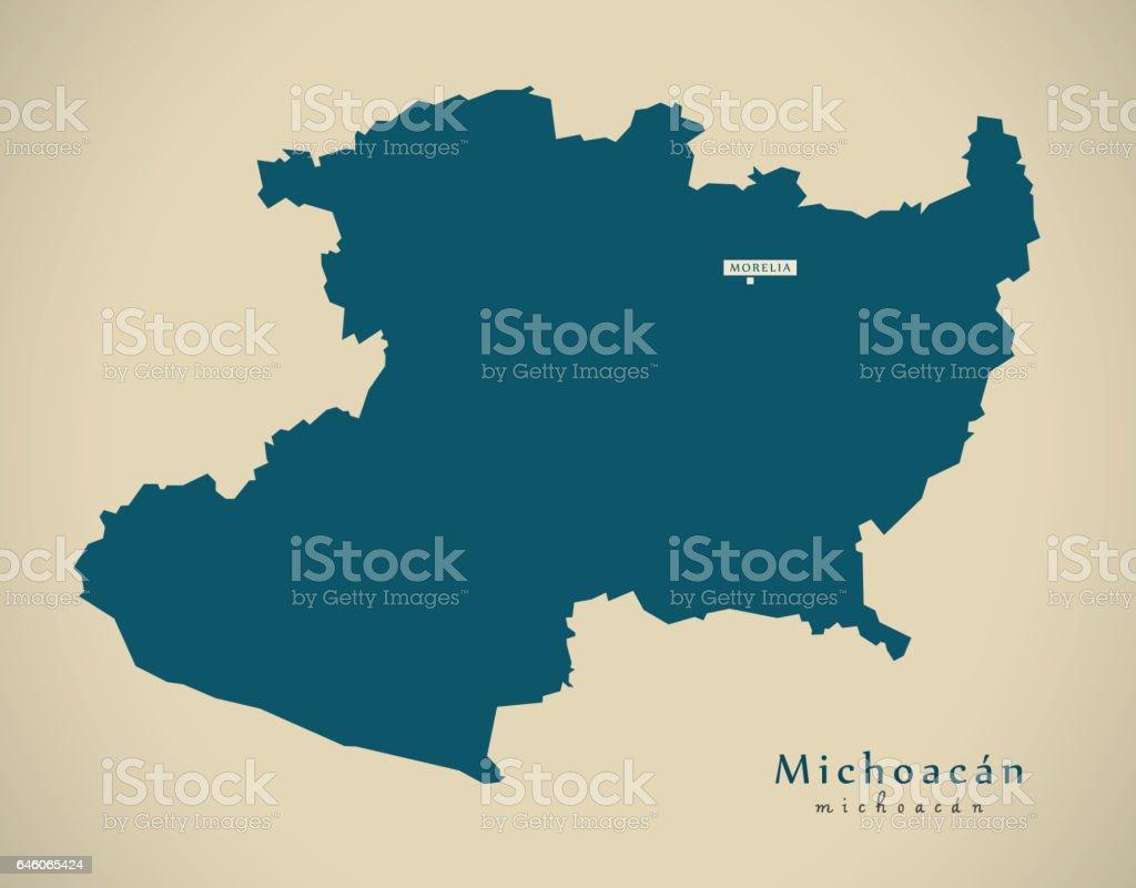 Michoacan State Map.Modern Map Michoacan Mexico Mx Illustration Stock Vector Art