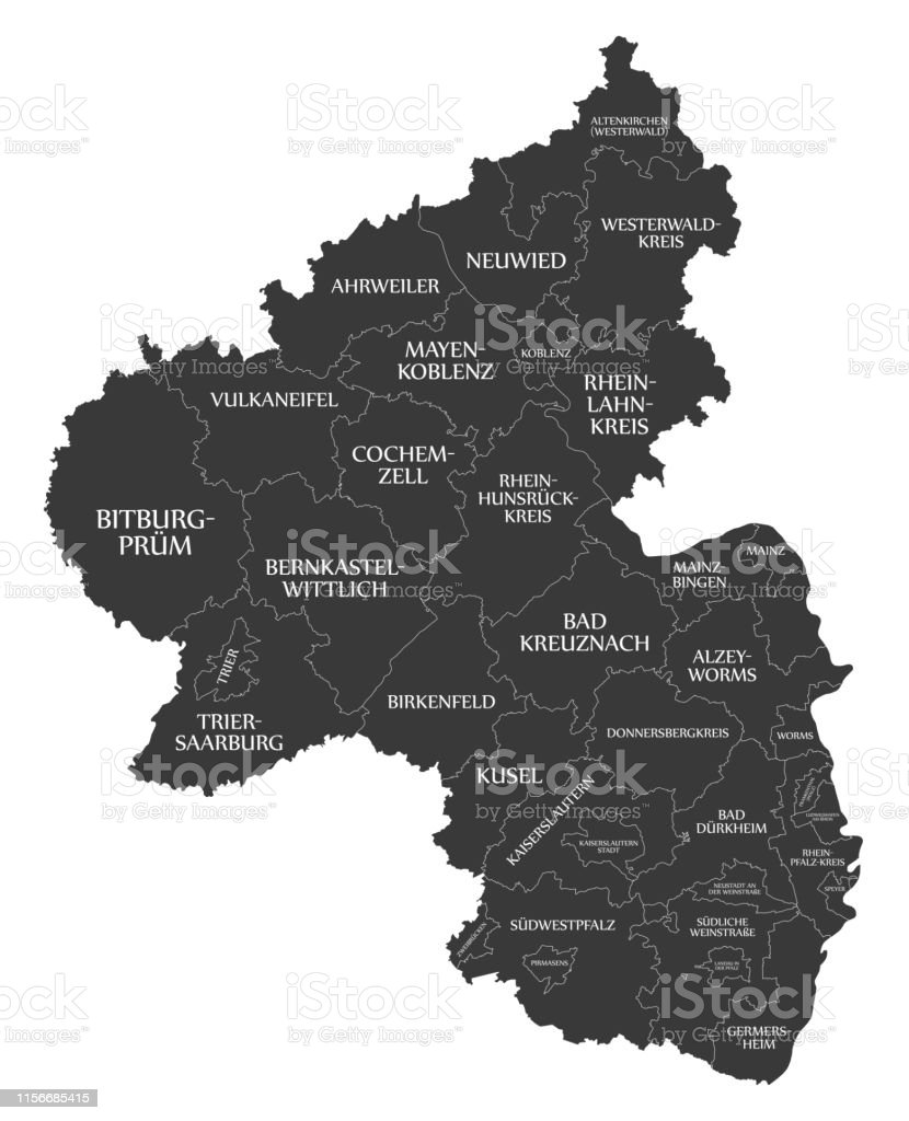 Map Of Zell Germany.Modern Map Rhinelandpalatinate Map Of Germany With Counties And