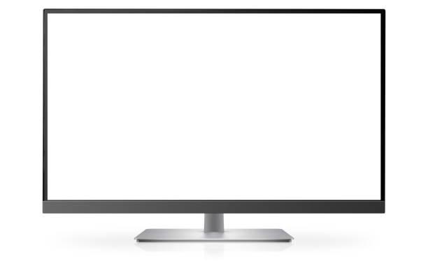 modern monitor or tv on white - телевизионная индустрия stock illustrations