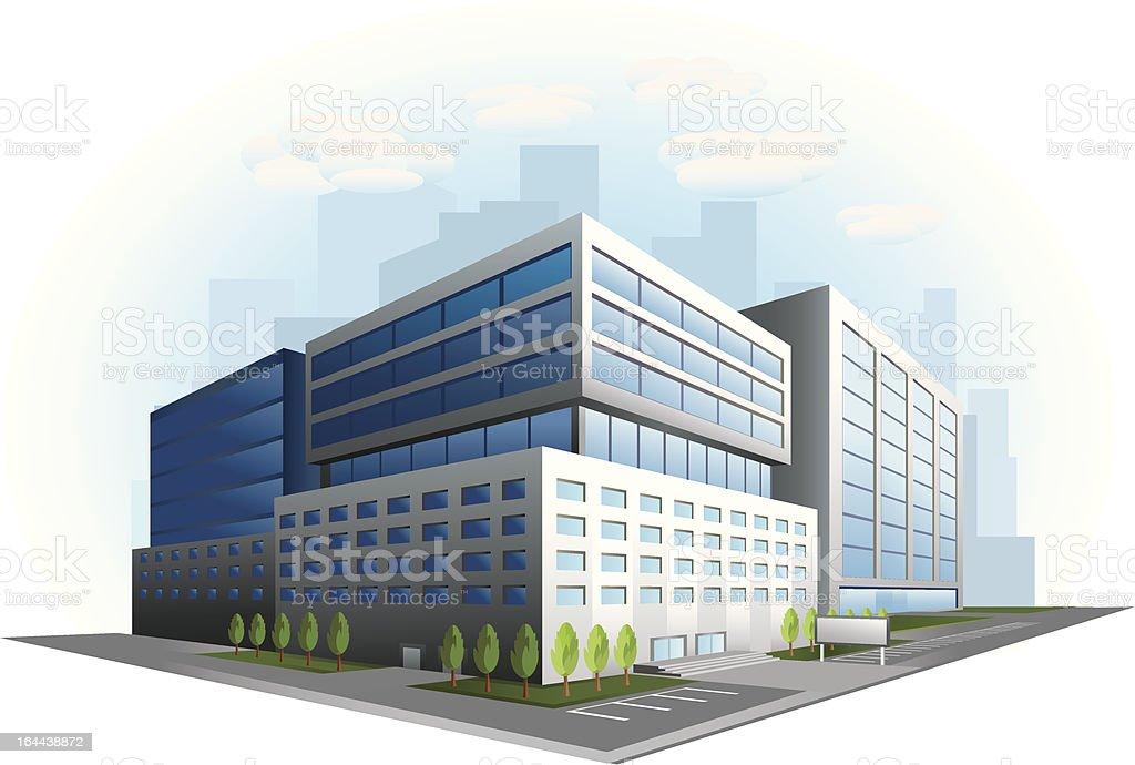 Modern office building illustration vector art illustration