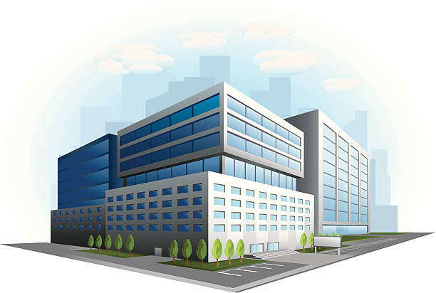 modern office building illustration - architecture clipart stock illustrations