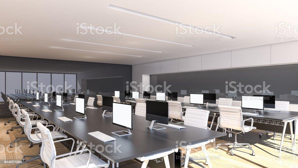 Design dintérieur de bureaux modernes d rendering u cliparts