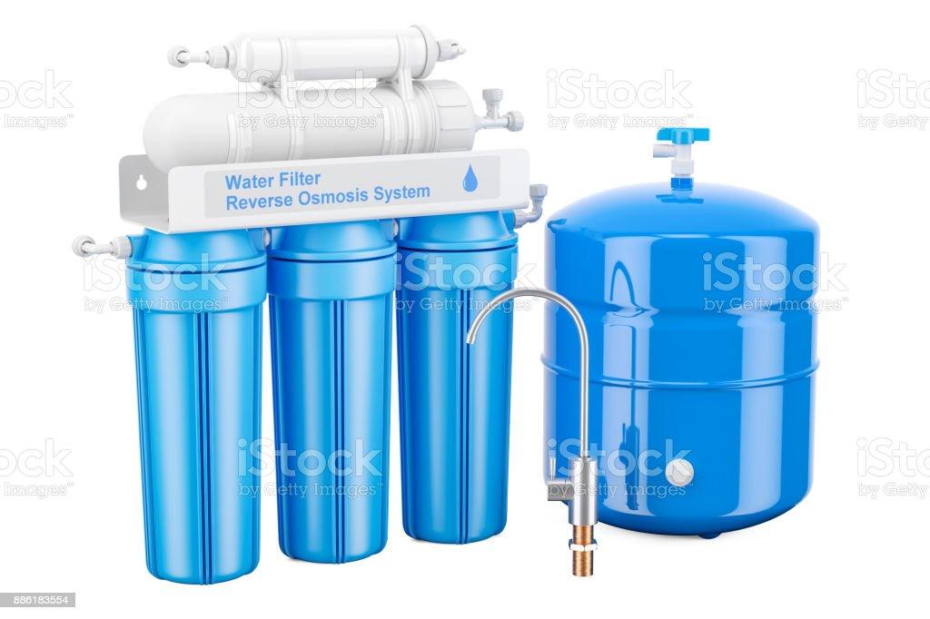 Modern Reverse Osmosis System, 3D rendering vector art illustration