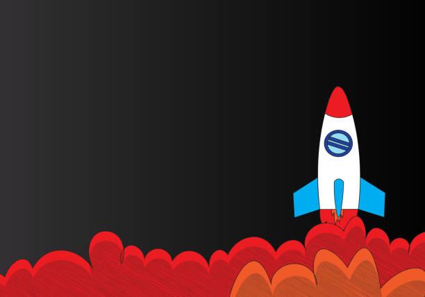 現代火箭發射向量藝術插圖
