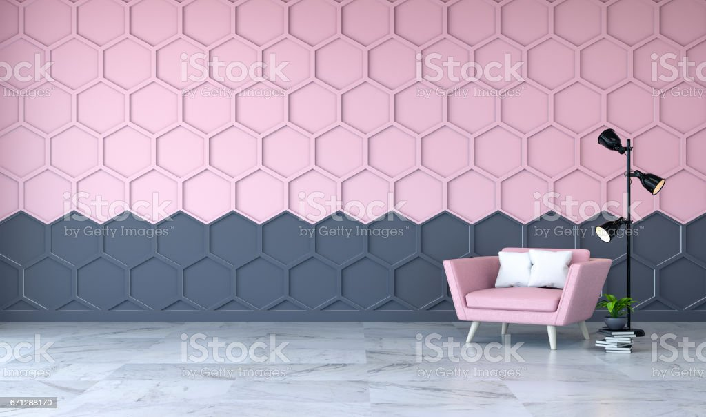 Modern Room Interior Pink Armchair On Marble Flooring And Pink With ...