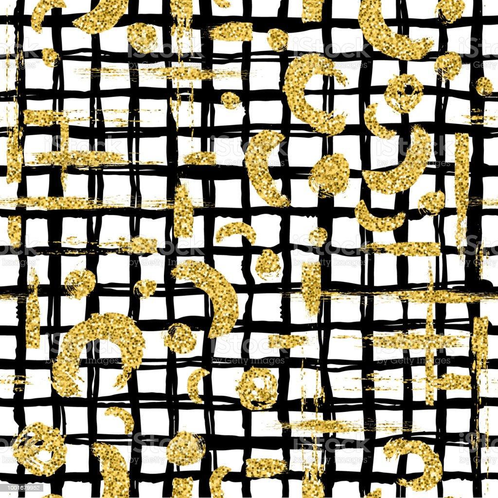 Modern Seamless Pattern With Gold Glitter Brush Stripe Blot And