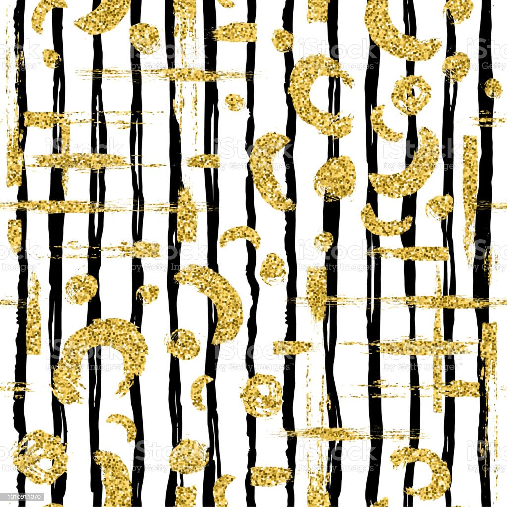 Modern Seamless Pattern With Gold Glitter Brush Stripe Blot