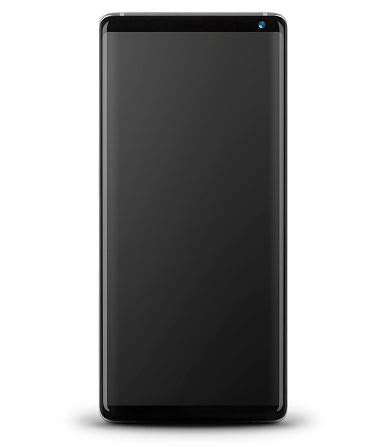 Modern Smart Phone with Black Screen - Front View