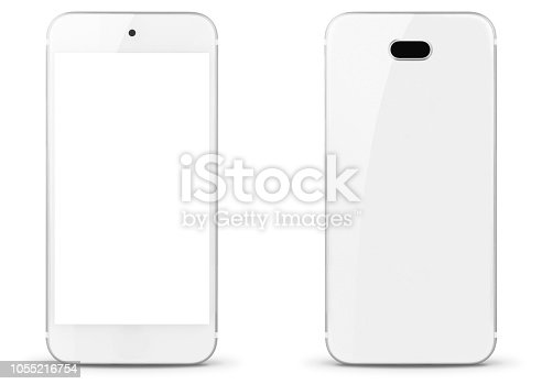 Smartphone isolated on white front and rear view - for inspector: this is a generic smartphone, it is not a reproduction of an existing trademark