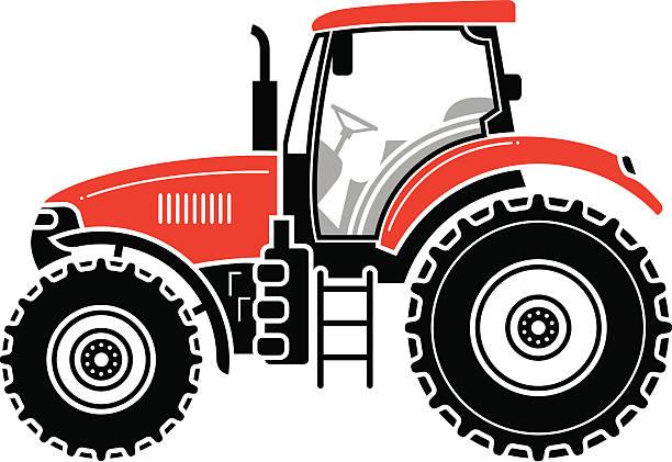 Modern tractor vector art illustration