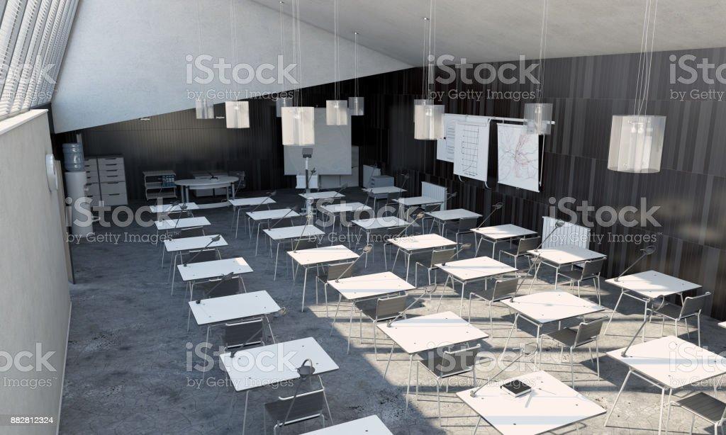 Modern University Classroom Interior stock vector art 882812324 | iStock