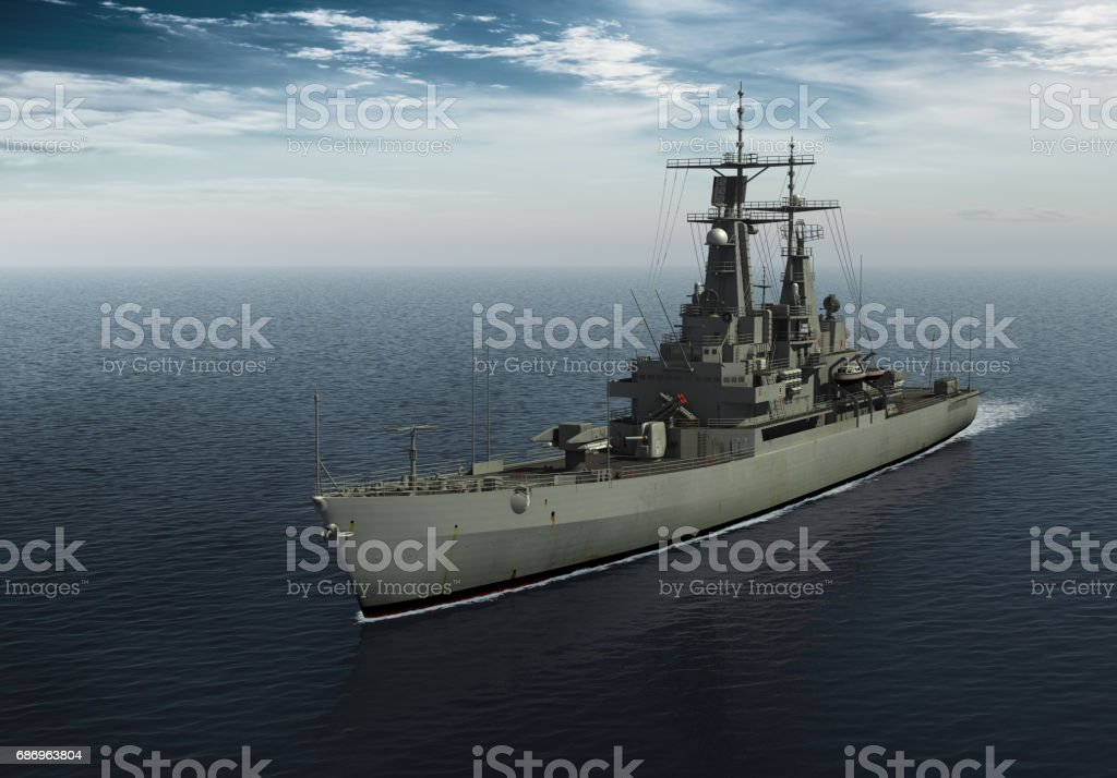 Modern Warship In The High Seas vector art illustration