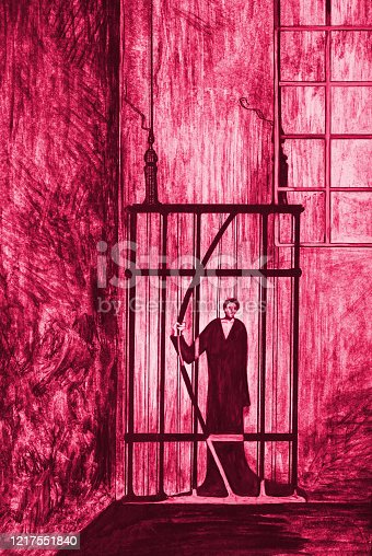 istock Modern work of art  drawing in red watercolor allegory of freedom vertical portrait of the figure of a man imprisoned in a prison cell  trying to escape from prison against the background of prison bars and walls  building in tense shades of  red colors 1217551840