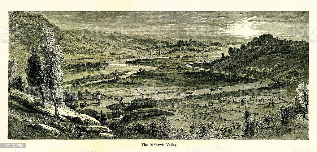 Mohawk Valley, New York | Historic American Illustrations vector art illustration